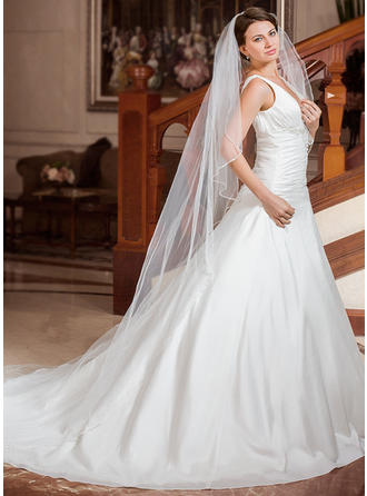 Cathedral Bridal Veils Tulle One-tier Drop Veil With Beaded Edge Wedding Veils
