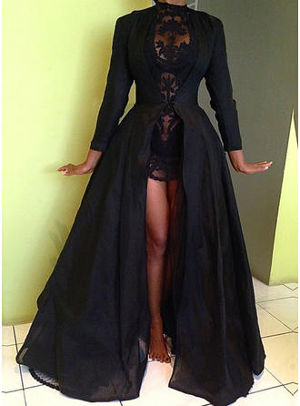 Ball-Gown Sweep Train Prom Dresses High Neck Taffeta Long Sleeves
