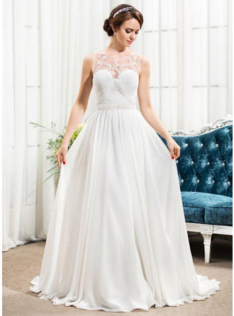Stunning Scoop A-Line/Princess Wedding Dresses Sweep Train Chiffon Sleeveless