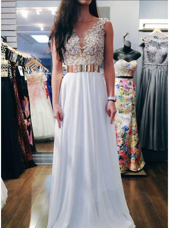 A-Line/Princess Chiffon Prom Dresses Sash Beading Sequins V-neck Sleeveless Floor-Length