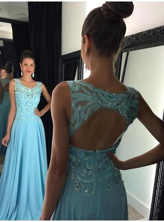 A-Line/Princess Chiffon Prom Dresses Appliques Lace Scoop Neck Sleeveless Floor-Length