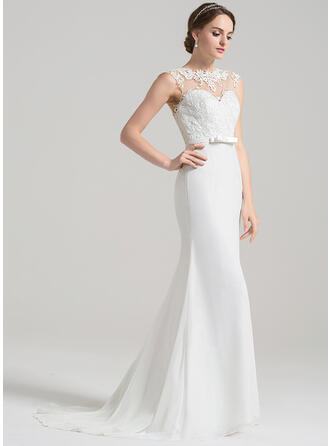 Trumpet/Mermaid Illusion Sweep Train Chiffon Lace Wedding Dress With Bow(s)