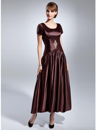 A-Line/Princess Charmeuse Short Sleeves Scoop Neck Ankle-Length Zipper Up Mother of the Bride Dresses