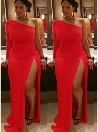 Sheath/Column Jersey Prom Dresses Split Front One-Shoulder Long Sleeves Floor-Length