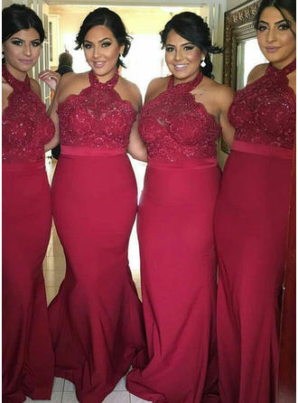 Trumpet/Mermaid Halter Floor-Length Jersey Bridesmaid Dresses With Lace