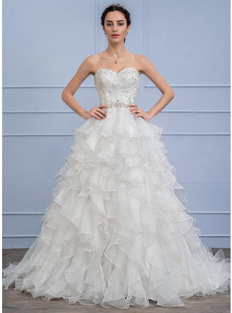 Ball-Gown Sweetheart Sweep Train Organza Lace Wedding Dress With Beading Cascading Ruffles