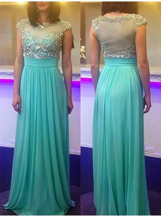 A-Line/Princess Chiffon Prom Dresses Beading Scoop Neck Sleeveless Sweep Train