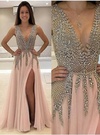 A-Line/Princess V-neck Floor-Length Prom Dresses With Beading Split Front