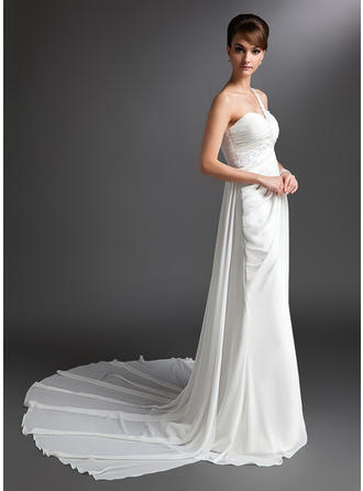 Beautiful One Shoulder Sheath/Column Wedding Dresses Watteau Train Chiffon Sleeveless