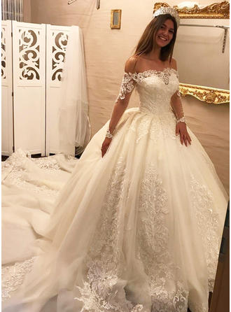 Ball-Gown Tulle Lace Long Sleeves Off-The-Shoulder Royal Train Wedding Dresses