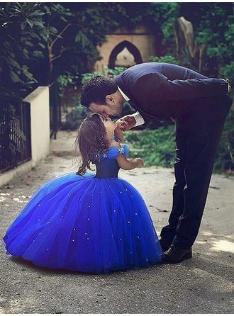Fashion Off-the-Shoulder Ball Gown Flower Girl Dresses Floor-length Tulle Sleeveless