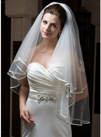 Fingertip Bridal Veils Tulle Two-tier Angel cut/Waterfall/Cascade With Ribbon Edge Wedding Veils