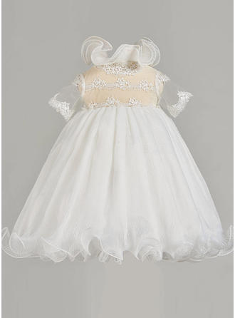 A-Line/Princess High Neck Ankle-length Tulle Christening Gowns With Lace