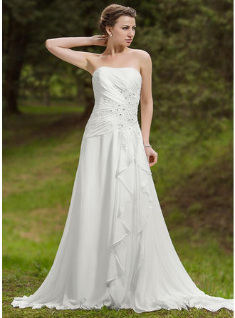 A-Line/Princess Sweetheart Chapel Train Wedding Dresses With Beading Appliques Lace Cascading Ruffles