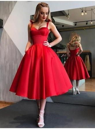 A-Line/Princess Sweetheart Tea-Length Homecoming Dresses With Ruffle