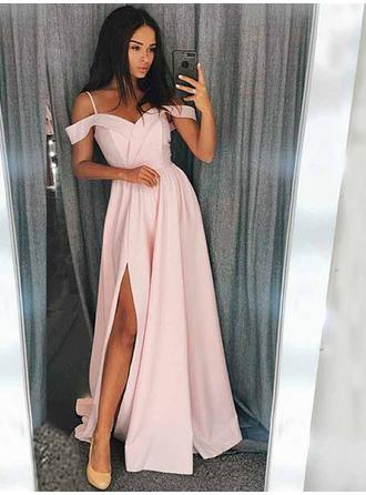 A-Line/Princess Sweetheart Sweep Train Prom Dresses With Ruffle Split Front