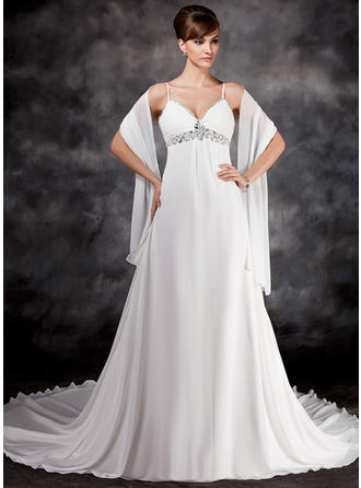 Empire Sweetheart Chapel Train Wedding Dresses With Ruffle Beading Sequins