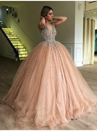 Ball-Gown V-neck Sweep Train Prom Dresses With Beading
