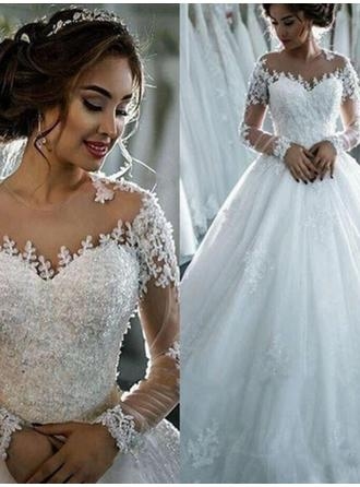 Ball-Gown Tulle Long Sleeves Scoop Cathedral Train Wedding Dresses