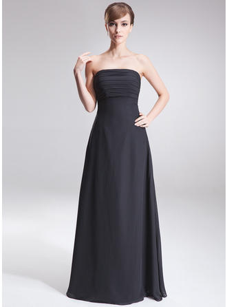 A-Line/Princess Chiffon Bridesmaid Dresses Ruffle Strapless Sleeveless Floor-Length