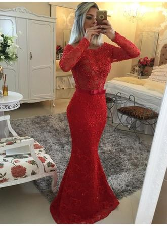 Trumpet/Mermaid Sweep Train Prom Dresses Scoop Neck Lace Long Sleeves