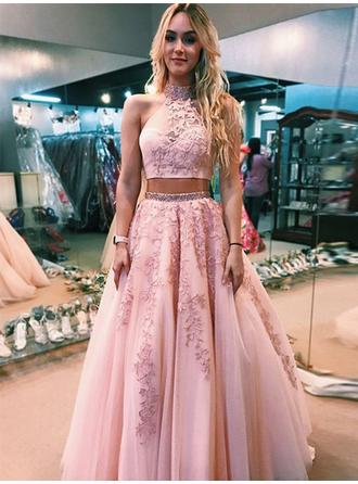 A-Line/Princess High Neck Floor-Length Prom Dresses With Beading Appliques
