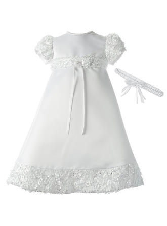 A-Line/Princess Scoop Neck Floor-length Satin Christening Gowns With Lace Beading