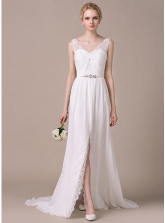 A-Line/Princess Sweetheart Sweep Train Wedding Dresses With Ruffle Beading Sequins Split Front