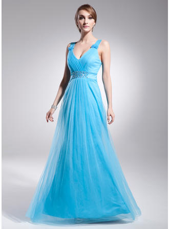 A-Line/Princess Tulle Prom Dresses Ruffle Beading V-neck Sleeveless Floor-Length