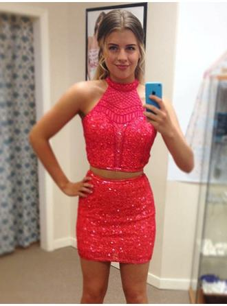 Sheath/Column Halter Short/Mini Homecoming Dresses With Beading