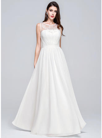 Flattering Scoop A-Line/Princess Wedding Dresses Floor-Length Chiffon Sleeveless