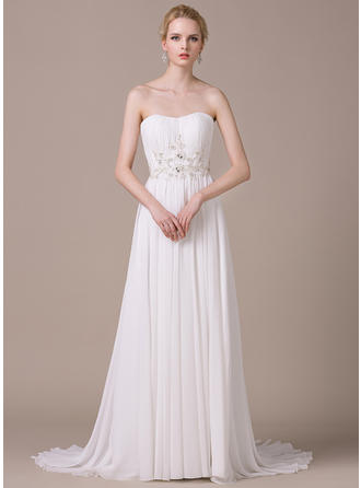 A-Line/Princess Sweetheart Sweep Train Wedding Dresses With Ruffle Lace Beading Sequins