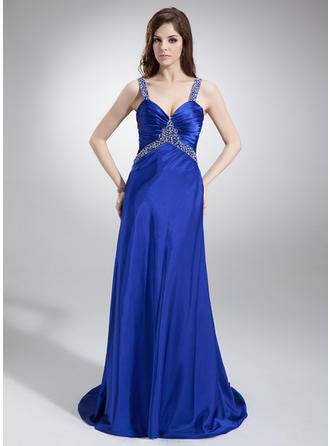 A-Line/Princess Sweep Train Prom Dresses V-neck Charmeuse Sleeveless