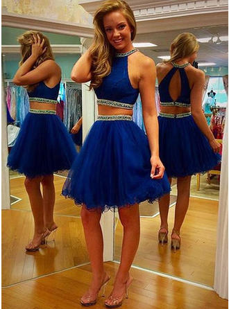 A-Line/Princess Scoop Neck Detachable Homecoming Dresses With Sequins