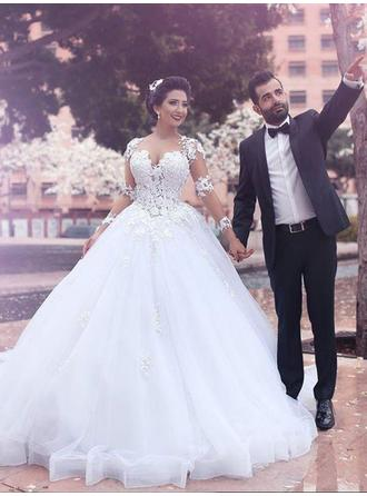 Flattering Scoop Ball-Gown Wedding Dresses Court Train Tulle Long Sleeves