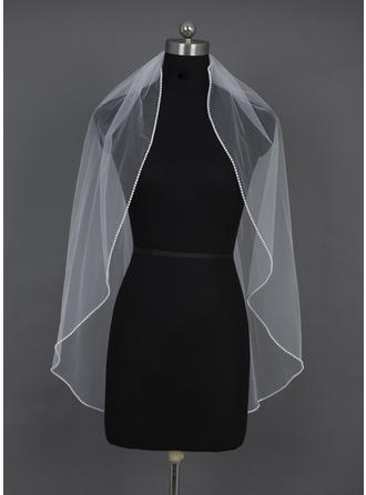 Fingertip Bridal Veils Tulle One-tier Oval/Mantilla With Beaded Edge Wedding Veils