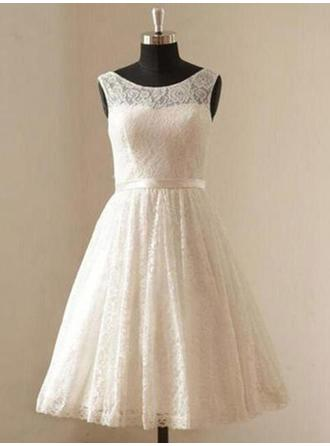 Scoop A-Line/Princess Wedding Dresses Lace Sash Sleeveless Knee-Length