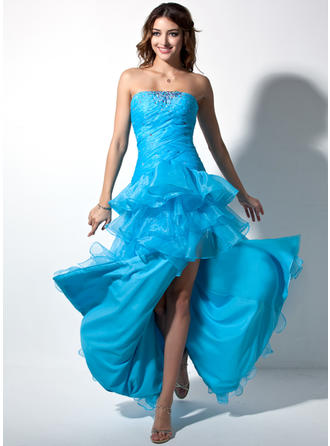 Sheath/Column Sweetheart Floor-Length Asymmetrical Prom Dresses With Ruffle Beading Split Front Cascading Ruffles