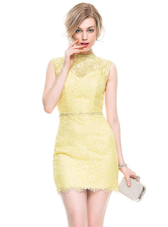 Sheath/Column High Neck Short/Mini Lace Cocktail Dress With Beading Sequins