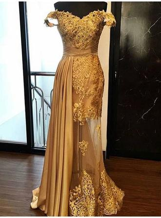 Sheath/Column Off-the-Shoulder Floor-Length Evening Dresses With Ruffle Appliques