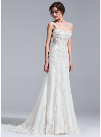 Trumpet/Mermaid Sweetheart Court Train Wedding Dresses With Beading Appliques Lace Sequins