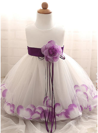 A-Line/Princess Scoop Neck Floor-length Tulle Christening Gowns With Flower(s)