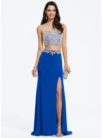 Trumpet/Mermaid Scoop Neck Sweep Train Jersey Prom Dresses With Beading Sequins Split Front