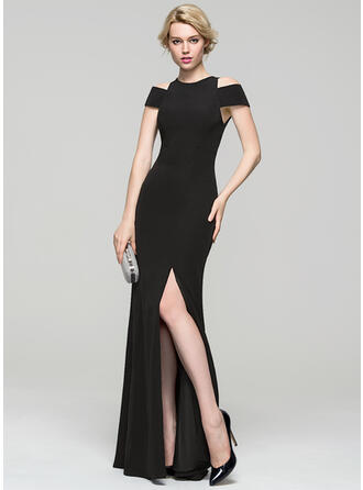 Sheath/Column Scoop Neck Floor-Length Stretch Crepe Prom Dresses With Split Front