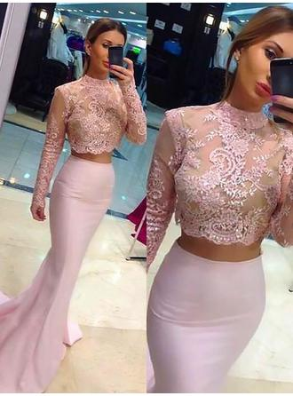 Trumpet/Mermaid Charmeuse Prom Dresses Beading High Neck Long Sleeves Sweep Train