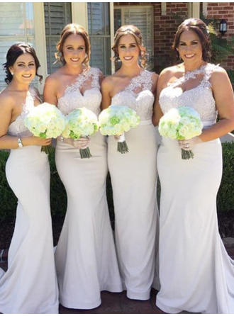 Trumpet/Mermaid Lace Jersey Bridesmaid Dresses One-Shoulder Sleeveless Sweep Train