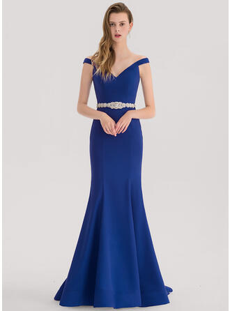 Trumpet/Mermaid Off-the-Shoulder Sweep Train Stretch Crepe Prom Dresses With Beading