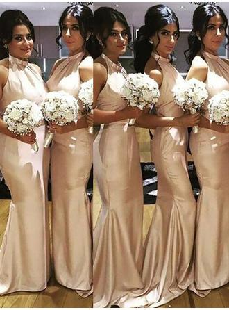 Trumpet/Mermaid Satin Bridesmaid Dresses Ruffle Halter Sleeveless Floor-Length