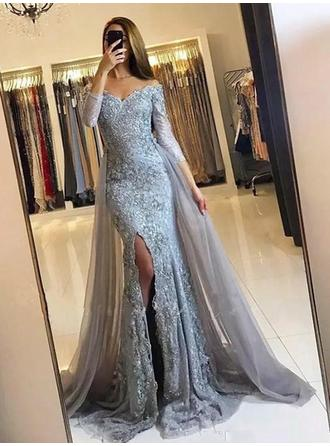 Trumpet/Mermaid Off-the-Shoulder Sweep Train Prom Dresses With Lace Split Front