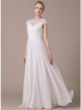 Stunning Scoop A-Line/Princess Wedding Dresses Floor-Length Chiffon Short Sleeves